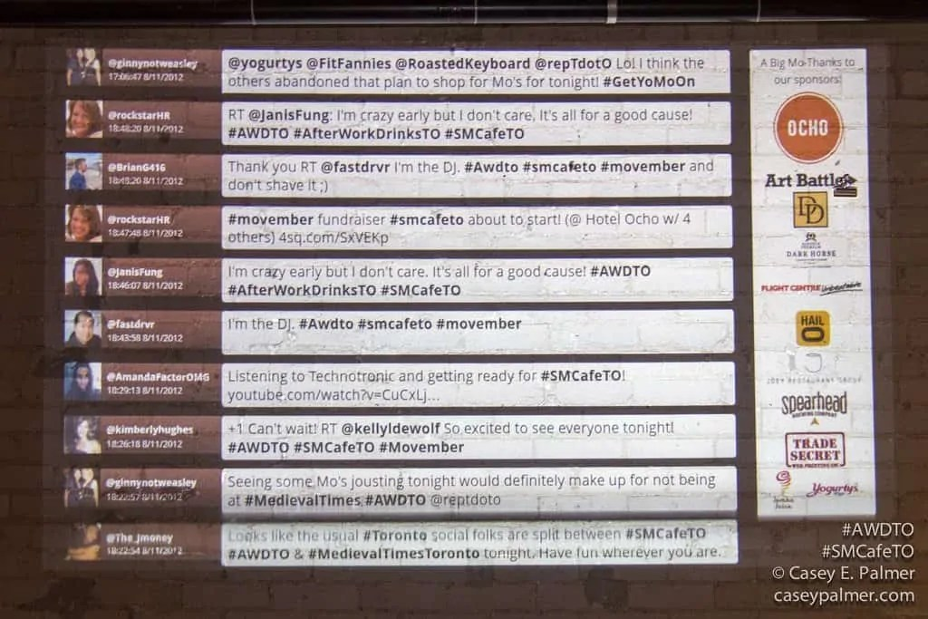 The tweets displayed on the wall at After Work Drinks Toronto: Movember Edition