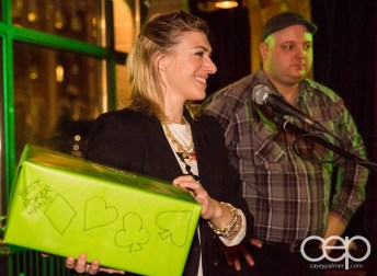 After Work Drinks Toronto 8 — #AWDTO — Amanda with the box for the Poker Hand Draw
