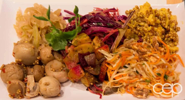 A mix of six salads from the smørrebrød counter at Karelia Kitchen