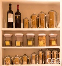 Some jars of loose leaf teas and assorted carafes at the Karelia Kitchen