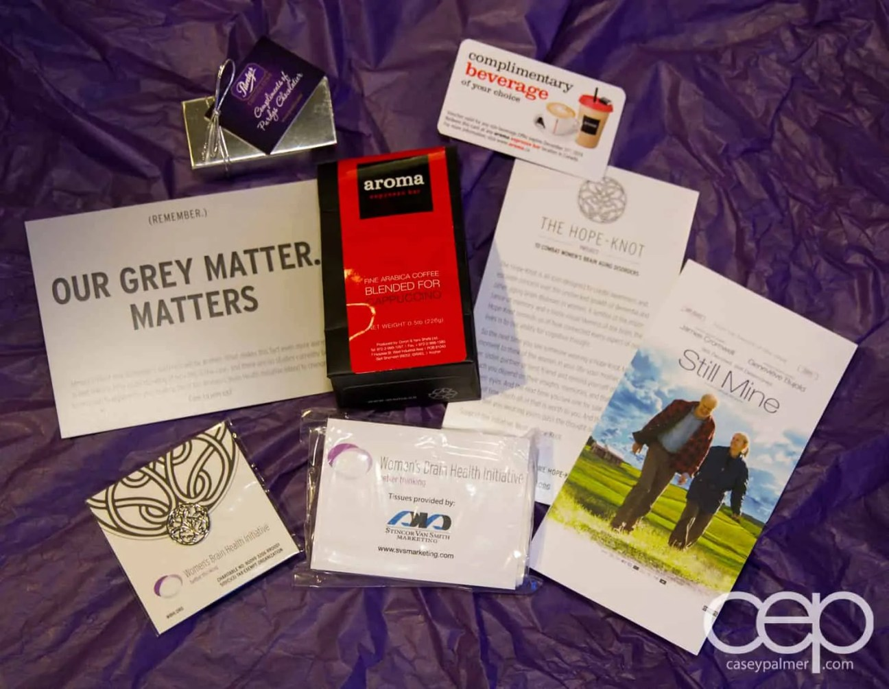The contents of the gift bag at the Women's Brain Health Initiative launch party.