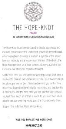 Hope-Knot information at the Women's Brain Health Initiative Launch