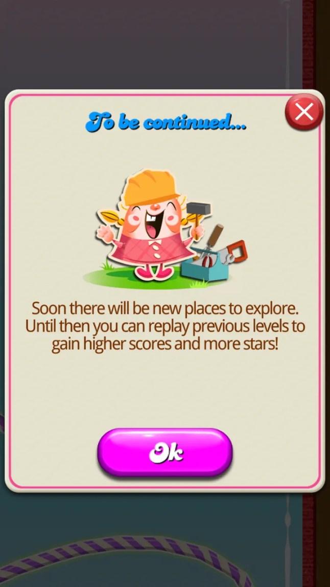 Candy Crush Saga Victory Message