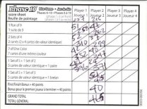 Mattel Game On! Gameology — Phase 10 Dice Game — Score Sheet Side 2