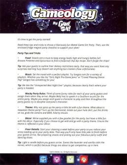 Mattel Game On! Gameology — Party-Throwing Tips