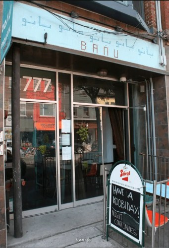 Banu Iranian Restaurant and Vodka Bar at 777 Queen Street West in Toronto.
