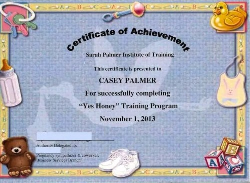 "The DoomzToo Birth Story — The Sarah Palmer Training Institute — Certificate for Completion of the ""Yes Honey"" Training Course"