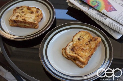 The 2013 100 1-10 — Tammy Allgood - In a Snap! Tasty Southern Recipes You Can Make in 5, 10, 15 or 30 Minutes! — Bacon Grilled Cheese on Raisin Bread — His and Hers Sandwiches