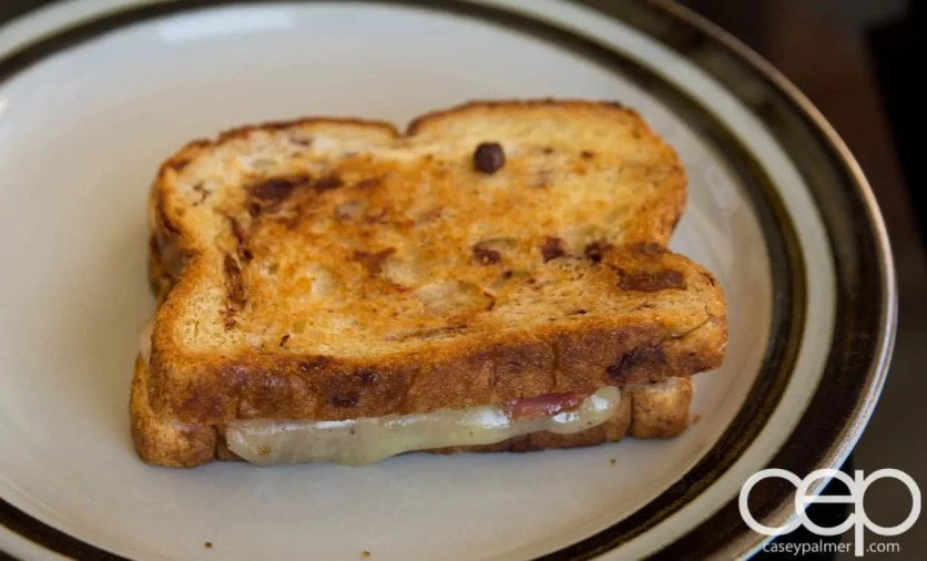 The 2013 100 1-10 — Tammy Allgood - In a Snap! Tasty Southern Recipes You Can Make in 5, 10, 15 or 30 Minutes! — Bacon Grilled Cheese on Raisin Bread — Final Product