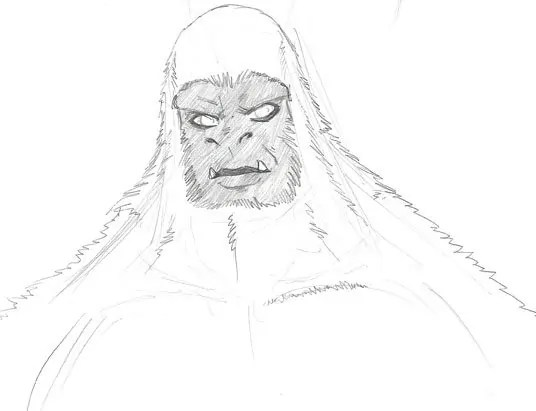 The second sketch of the white gorilla character I put together, refining him a bit.