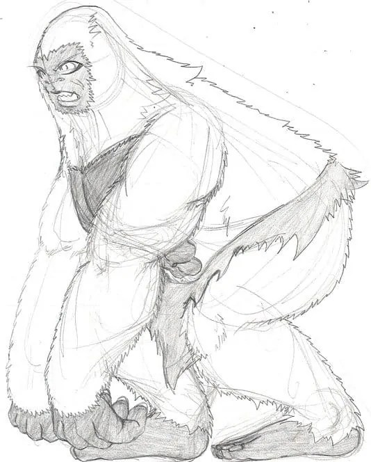 Finally starting to figure out a bit more about the white gorilla's body and the hunched posture he has.