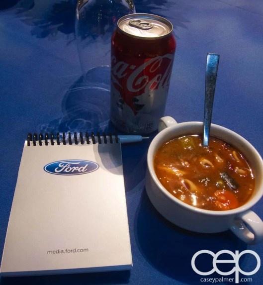#FordNAIAS 2014 — Day 1 — Westin Detroit Metropolitan Airport — Westin Atrium — Soup, Coke and my Notebook