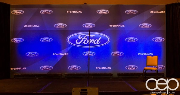 #FordNAIAS 2014 — Day 1 — The Westin Lindbergh Ballroom — Dinner Event — The Stage and Backdrop