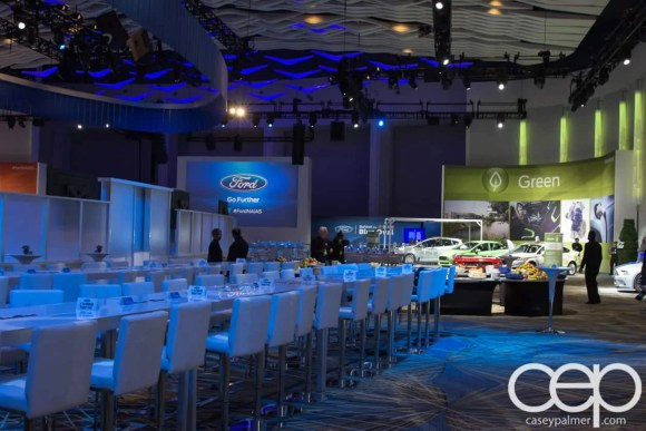 #FordNAIAS 2014 — Day 2 — Cobo Hall — Grand Rivierview Ballroom — Behind the Blue Oval — Blogger Area