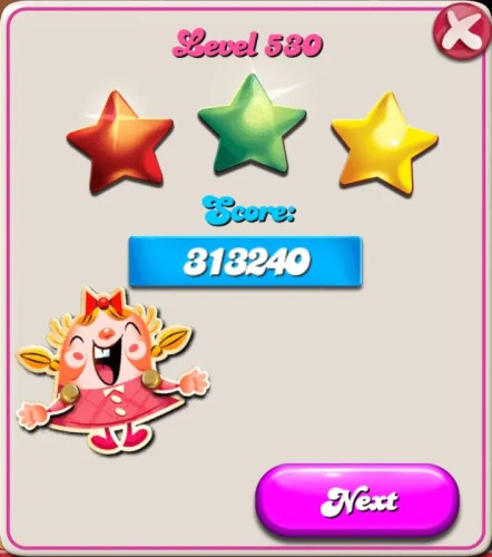 #100HappyDays — Day 23 — Finishing Candy Crush Saga Level 530