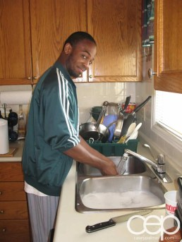 Mother's Day at the Palmer Household 2007 — Adrian on Dish Duty
