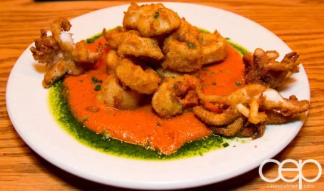 Team Trolling Does Pizzeria Libretto — Buttermilk Fried Calamari — red pepper, almond romesco sauce, Libretto herb oil