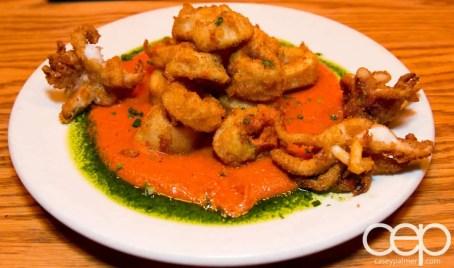 Team Trolling Does Pizzeria Libretto — Buttermilk Fried Calamari — red pepper, almond romesco sauce, Libretto herb oil
