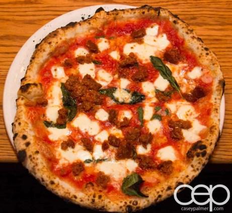 Team Trolling Does Pizzeria Libretto — Nduja Sausage Pizza — tomato, garlic, oregano, basil, mozzarella, stracciatella