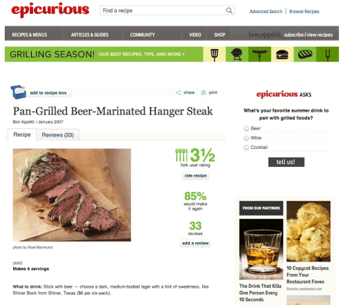 10 Links You Should Click — Epicurious || Pan-Grilled Beer-Marinated Hanger Steak