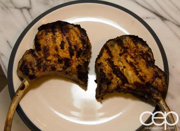 #SamInHand — Beer-Brined Pork Chops — Cooked Chops Plated