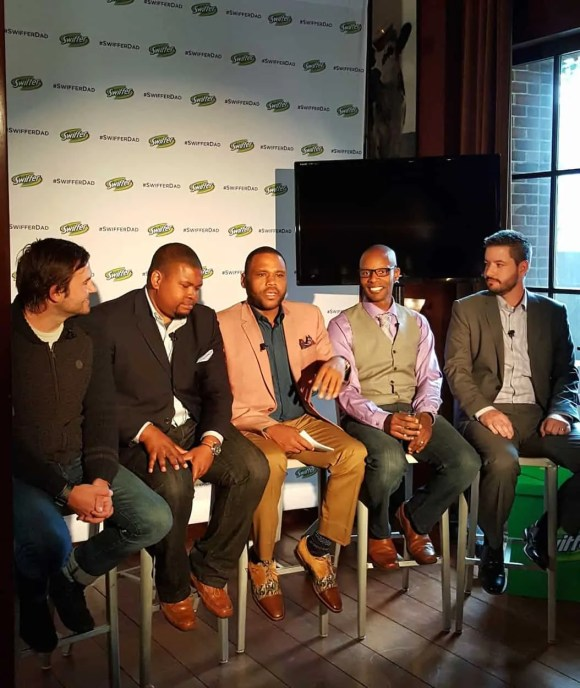 Casey Palmer x Swiffer Present—36 Hours in NYC—L-R—Patrick Carrie (Getting Rad with Dad); Mike Johnson (Playground Dad); Anthony Anderson; Doyin Richards (Daddy Doin' Work); Beau Coffron (Lunchbox Dad)