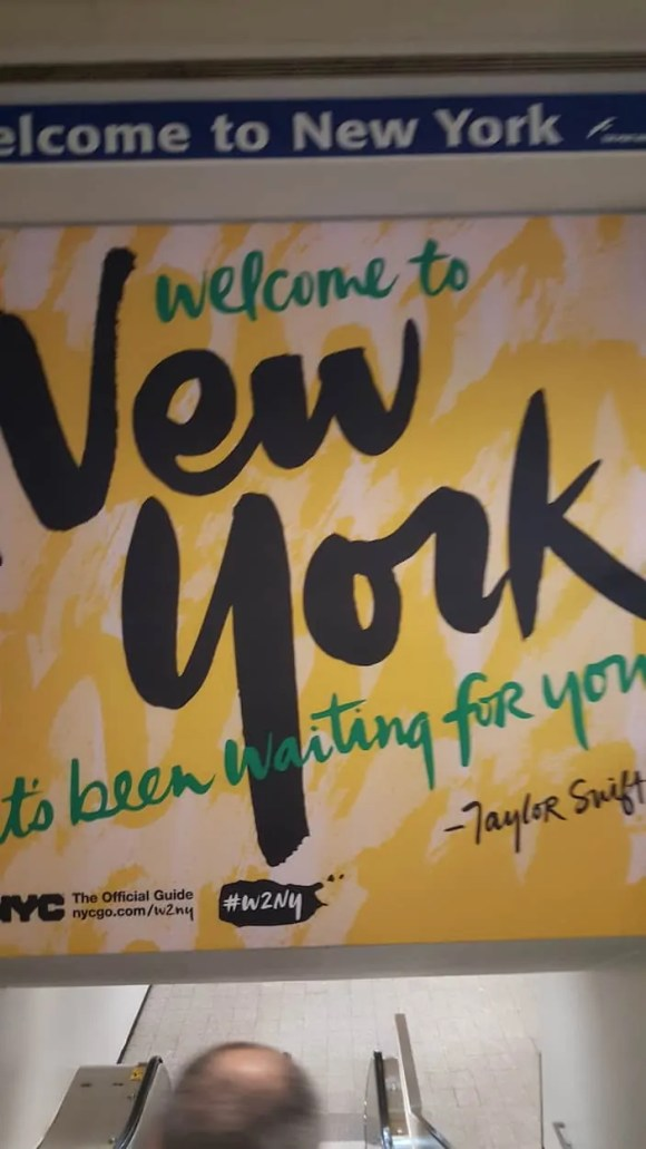 Casey Palmer x Swiffer Present—36 Hours in NYC—LaGuardia Welcome to New York Sign