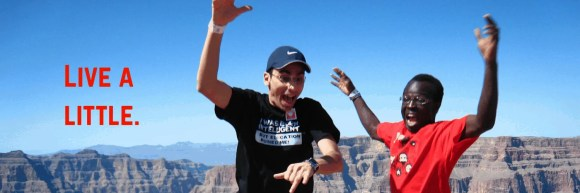 Live a little: My best friend and I jumping bravely at the Grand Canyon.