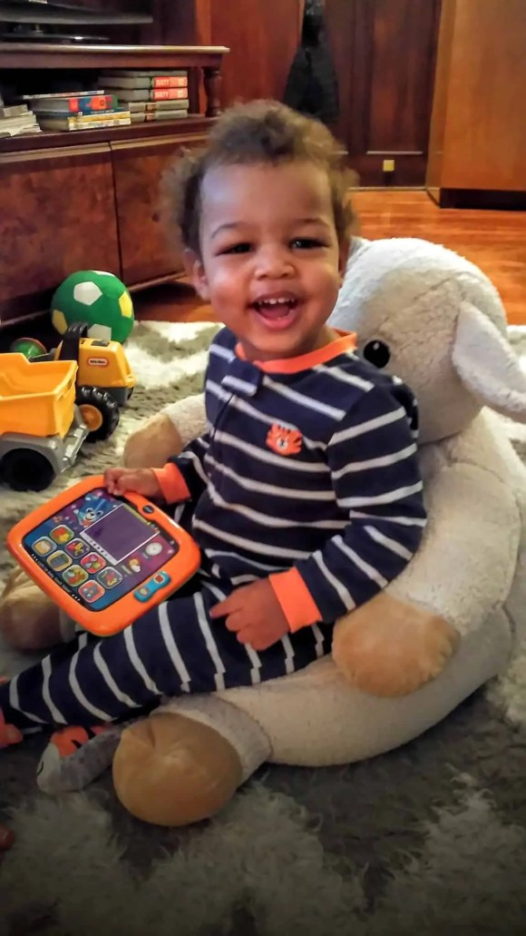 A Case Cringle Christmas, Day 2 — My Toddler, Me and a Little Cloud b! — Little Man Enjoying the cloud b Cuddly Comfeez Sleep Sheep