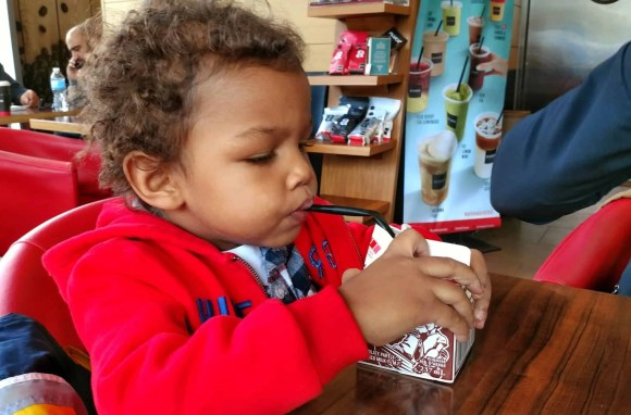 An Aroma Kidz Adventure—Why I Can't Take My Kidz ANYWHERE.—The Palmer Toddler With His Milk
