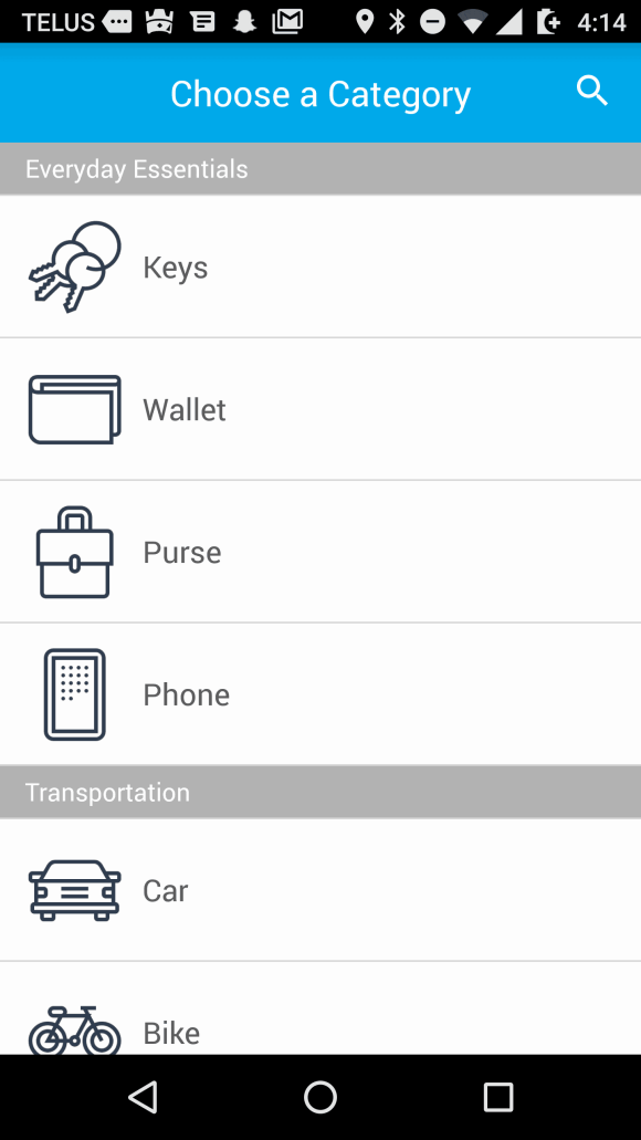 Tile Mate — Helping You Keep Your Stuff BY YOUR SIDE. — Tile App — Choose a Category