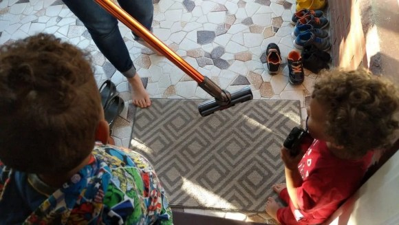 Messes and Spills Go From Clumsy to Cute with the Dyson Cyclone V10 Absolute!—The Boys Seeing the V10 Absolute in Action!