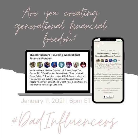 Building Generational Financial Freedom Clubhouse Chat Promotional Image
