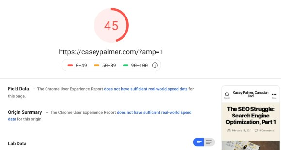 CaseyPalmer.com Google Pagespeed Insights Score as of February 18, 2021