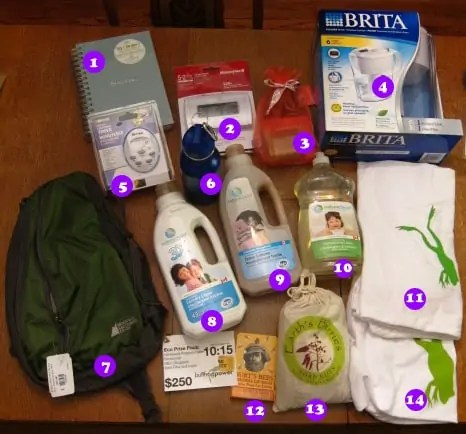 The Bullfrog Power prize pack from HoHoTO 2010, including: a notebook; a Honeywell thermostat; Rocky Mountain soap products; a Brita filter jug; an electric timer; a water bottle; a Mountain Equipment Co-op sling bag; dishwashing and laundry products; his and hers Bullfrog t-shirts; Burt's Bees Beeswax lip balm; natural nut-based soap nuts for laundry