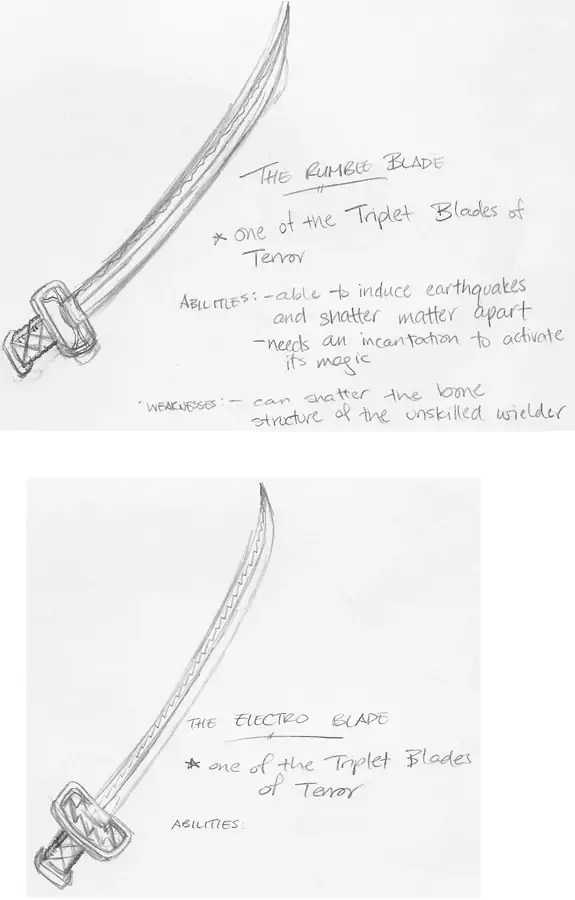 A sketch of the swords that Kyle Kongo would use in the EnterVoid universe — the Rumble Blade and the Electro Blade.