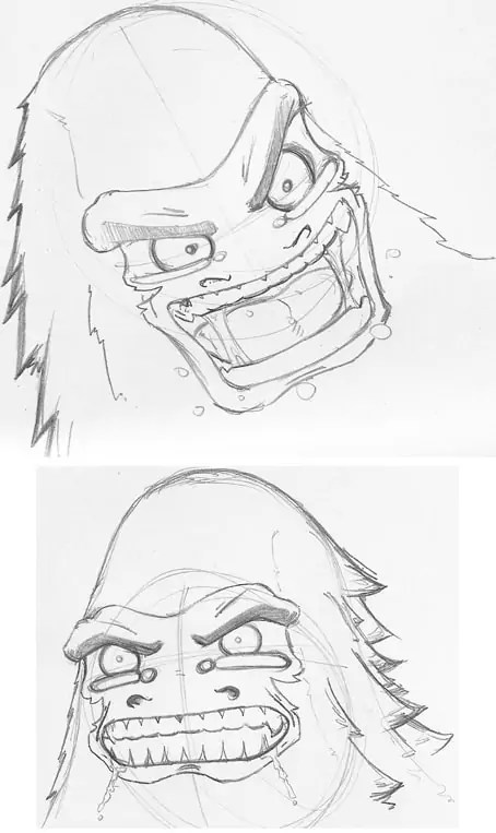 Some sketches of G the Gorilla getting enraged in Fish & Chimps.