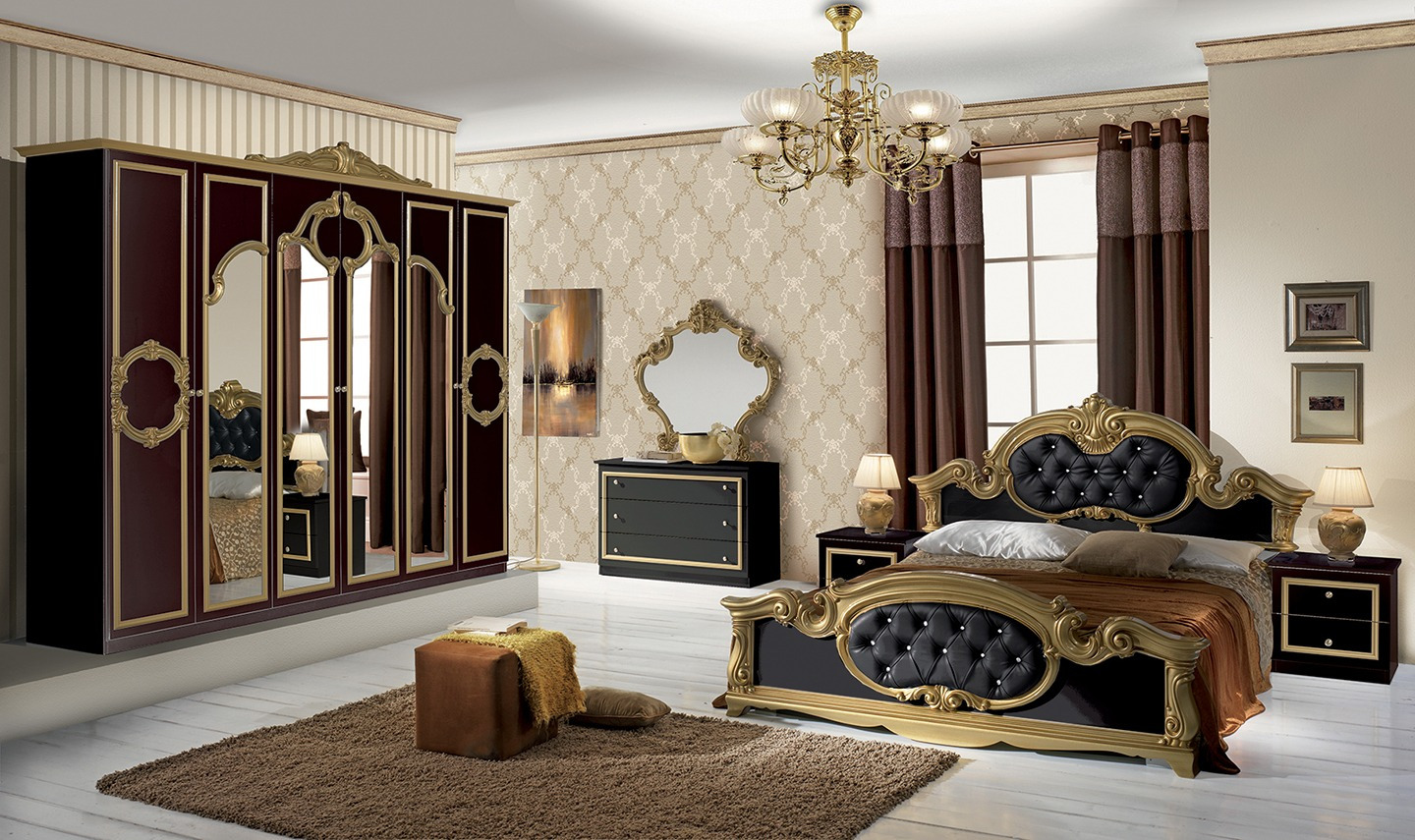 barocco italian black gold bedroom set