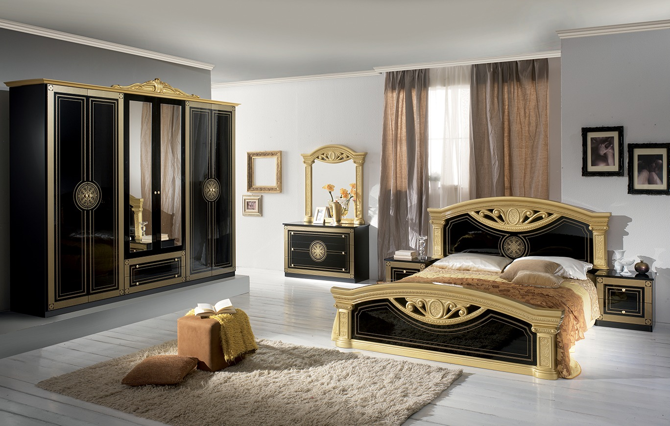 new roma 4doors italian black gold bedroom set