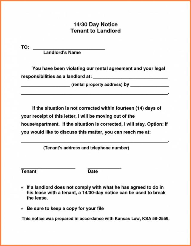 30 Day Vacate Notice Template