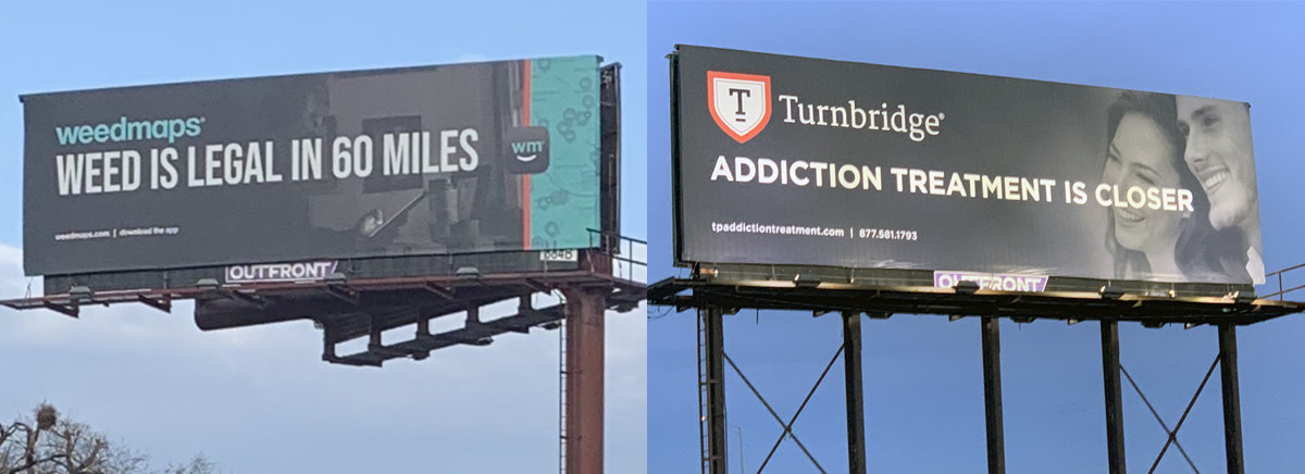 Turnbridge responds to Weedmaps billboard with addiction treatment campaign