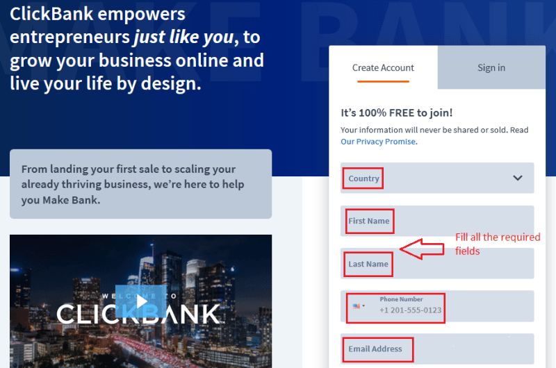 02fill details - Step by Step guide to create ClickBank Affiliate Account