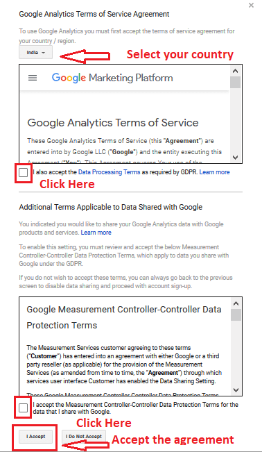 05 google analytics service agreement - Google Analytics and Google Search Console: Explanation and Set up