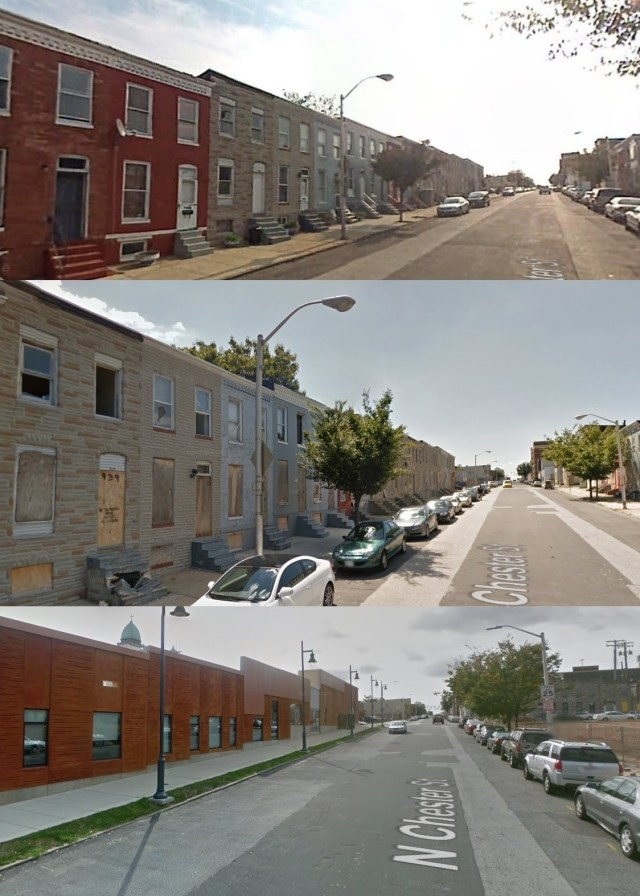 North Chester St. in November 2007, homes are occupied (top). August 2011, homes are vacant (middle). October 2014, school across from empty lot (bottom). Via Google Street View.