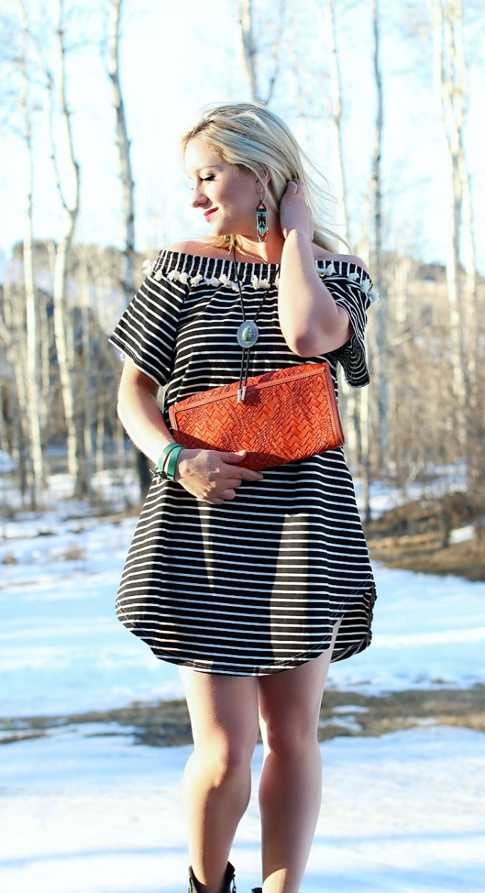 Striped Dress with Tassels