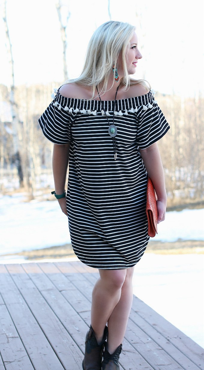 Striped, Tassel Dress