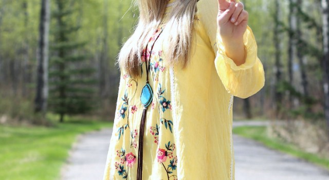 Floral Embroidered Lemon Dress