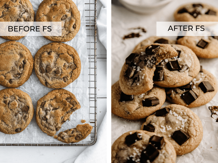 SIDE BY SIDE IMAGES OF CHOCOLATE CHIP COOKIES, BEFORE AND AFTER Foodtography School