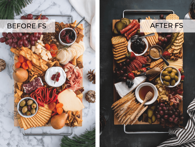 SIDE BY SIDE IMAGES OF CHARCUTERIE BOARDS, Foodtography School REVIEW