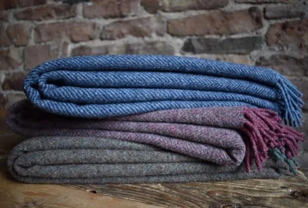 Recycled Wool Herringbone Blanket   Made in Yorkshire